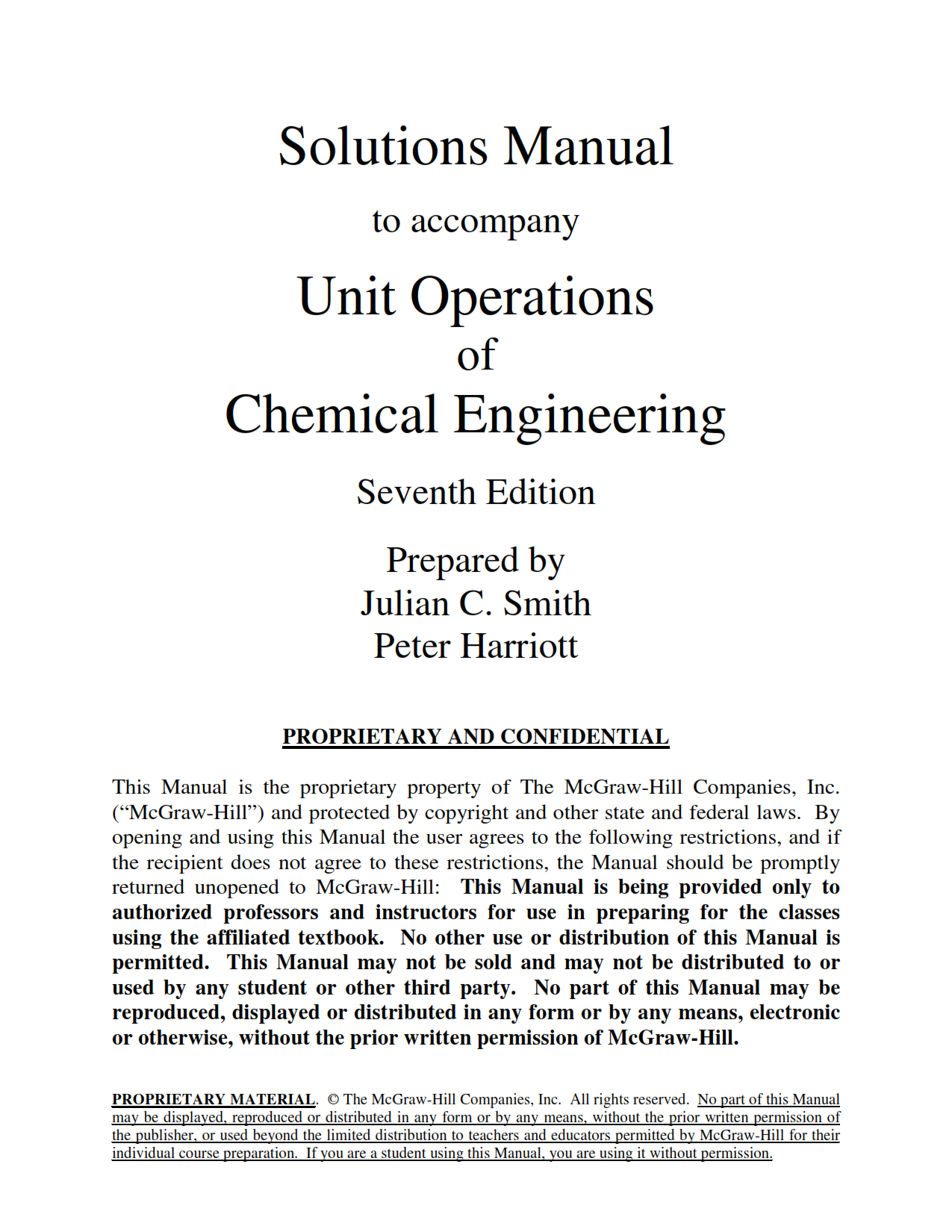 download free solution manual of Unit Operations of Chemical Engineering 7th edition by Julin Smith book in pdf format