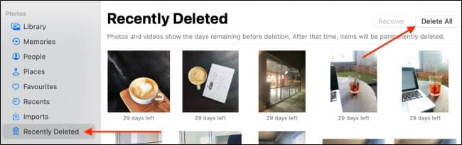 Click Delete All From Recently Deleted - نحوه غیرفعال سازی iCloud Photos روی مک