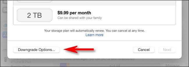 mac click downgrade options - آموزش لغو کردن اشتراک ذخیره سازی اپل iCloud