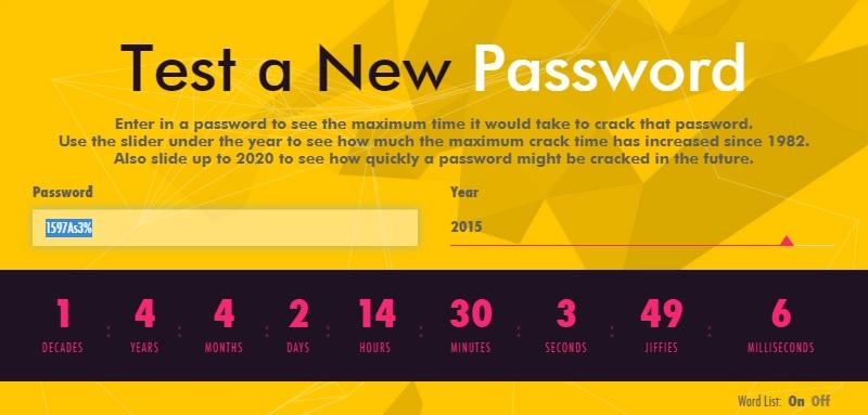ابزار تخمین زمان هک شدن یک رمز عبور