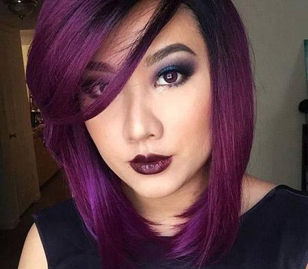 مدل آرایش با رنگ موی بادمجانی makeup eggplant color