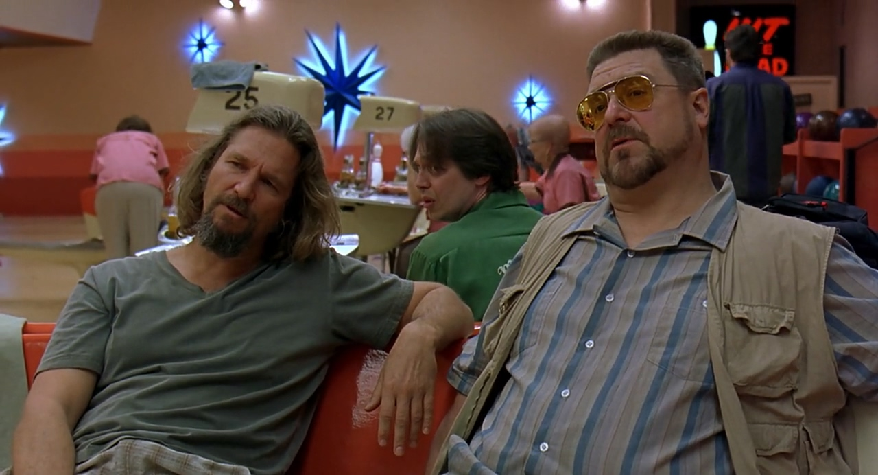 Dude and Walter in The Big Lebowski