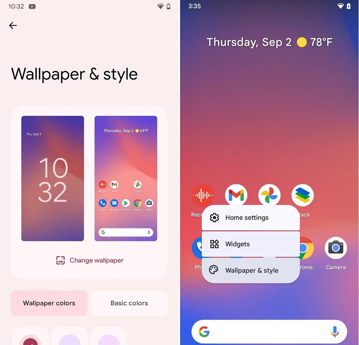 تغییر رنگ صفحات گوشی در اندروید 12