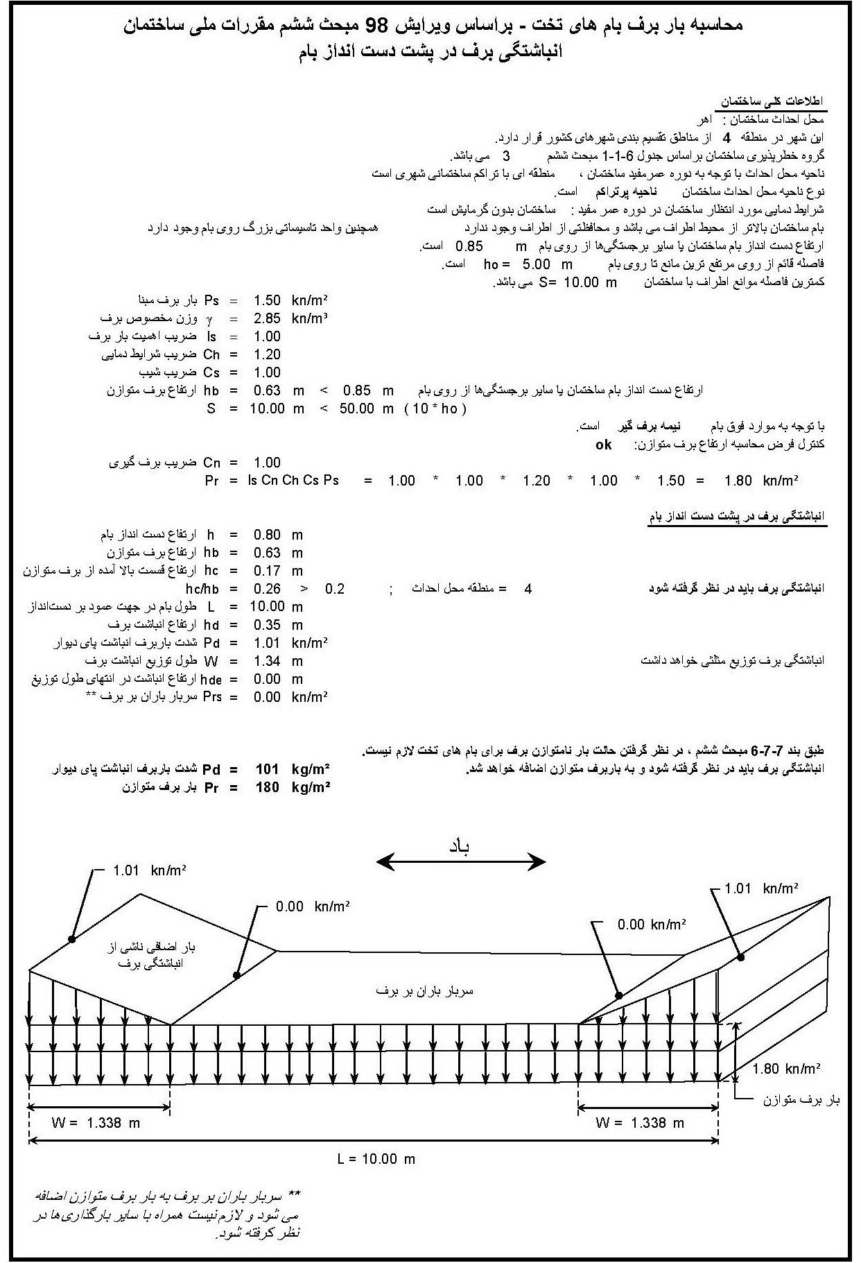 انباشتگی برف در پشت دست انداز بام -pdf خروجی