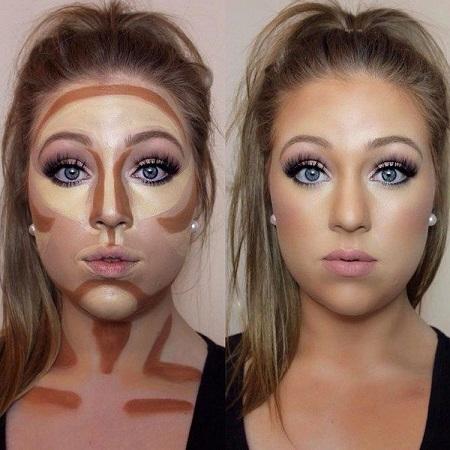 مخفی کردن غبغب با گریم صورت double chin